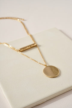 Bar and Disc Layered Pendant Necklace