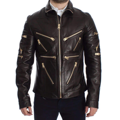 Dolce & Gabbana - Brown Lambskin Leather Zipper Jacket
