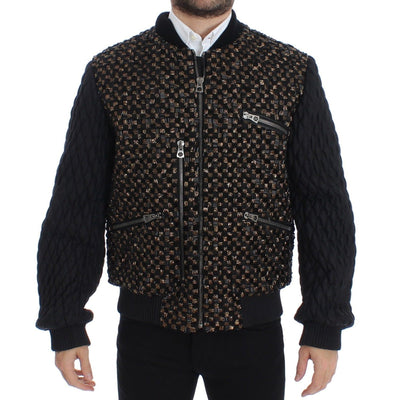 Dolce & Gabbana - Black Sequined Goatskin Jacket | Londress
