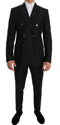 Dolce & Gabbana - Gray Wool Silk Double Breasted Slim Fit Suit, Londress