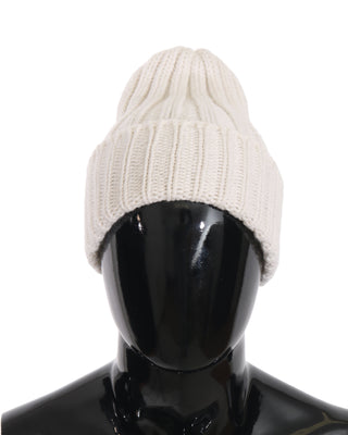 Dolce & Gabbana - White Beanie 100% Cashmere Warm Winter Hat