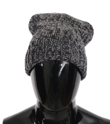 Dolce & Gabbana - Black Gray Beanie Winter Cashmere Warm Hat
