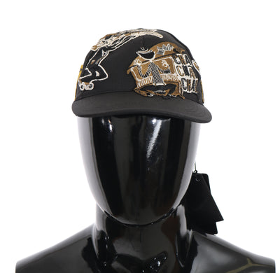 Dolce & Gabbana - Gray Gold Cotton Silk Music Baseball Cap