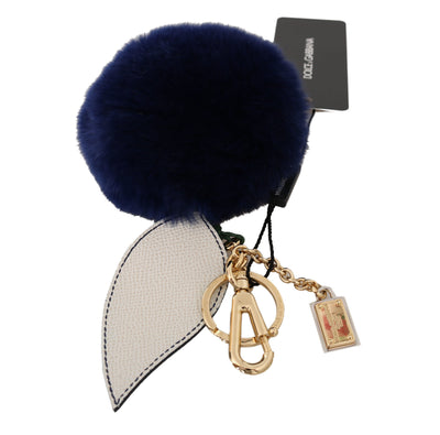 Dolce & Gabbana - White Blue Leather Fur Gold Clasp Keyring Keychain