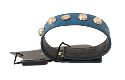 Blue Dauphine Leather Chain Gold Studs Bracelet