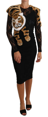 Black Shawl Tiger Lace Faux Fur Dress