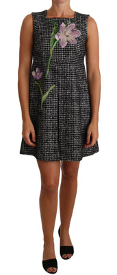 Gray Houndstooth Floral Appliqué Shift Mini Dress