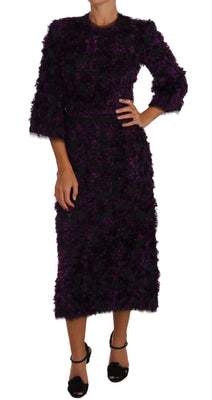 Purple Fringe Midi Sheath Dress