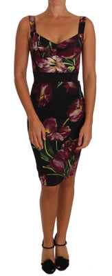 Floral Bodycon Bustier Silk Stretch Dress