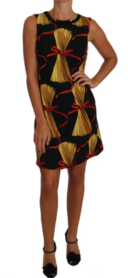 Black Silk Mini Shift Pasta-Print Dress
