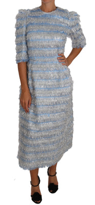 Light Blue Fringe Midi Sheath Dress