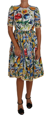 Majolica Floral Sheath Silk A-line Dress