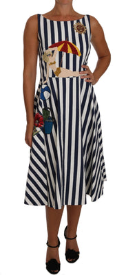 Blue White Striped Embroidered Beach Dress