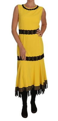 Yellow Dress Floral Lace Fringes Sheath dress
