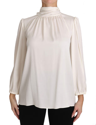 White Silk Pussybow Blouse Longsleeve Solid Top