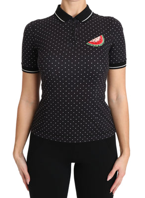 Black Poloshirt Watermelon Embroidered Polka dots Top
