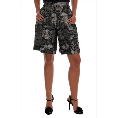 Dolce & Gabbana - Grey Floral Brocade High Waist Shorts, Londress