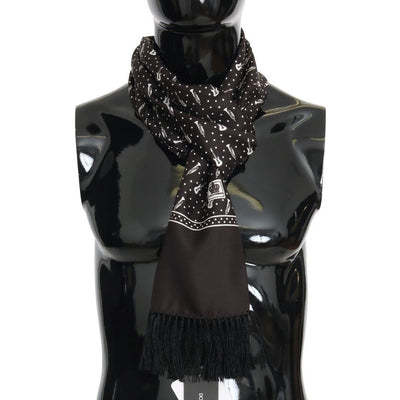 Dolce & Gabbana - Brown Silk Instrument Fringes Scarf, Londress