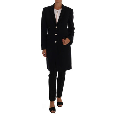 Dolce & Gabbana - Dark Blue Single Breasted Coat | Londress