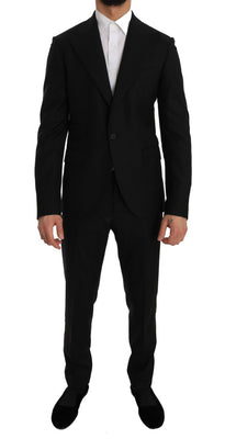 Dolce & Gabbana - Black Wool Two Button Slim Fit Blazer Suit