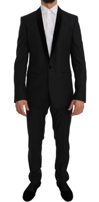 Dolce & Gabbana - Gray Black Tuxedo GOLD Slim Fit Smoking Suit