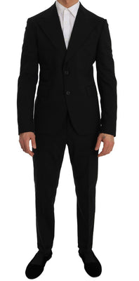 Dolce & Gabbana - Black Wool Stretch Two Button Slim Fit Suit