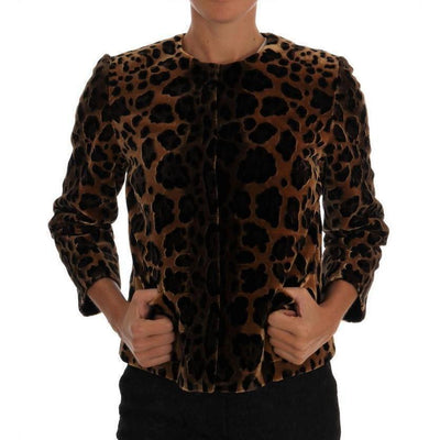 Dolce & Gabbana - Brown Leopard Print Silk Jacket