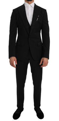 Dolce & Gabbana - Black 3 Piece Slim Fit Blazer Vest Suit