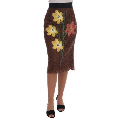 Dolce & Gabbana - Brown Floral Lace Pencil Skirt, Londress