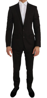 Dolce & Gabbana - Brown Wool Crystal Bee Slim Fit MARTINI