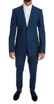 Dolce & Gabbana - Blue Wool GOLD Stretch 2 Piece Slim Suit