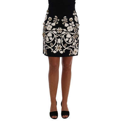 Dolce & Gabbana - Black Floral Pencil Skirt with Crystals, Londress