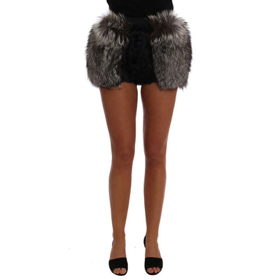 Dolce & Gabbana - Black Lamb & Fox Fur Hot Pants, Londress