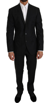 Dolce & Gabbana - Black Wool Silk 2 Piece Slim Fit Suit