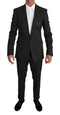 Dolce & Gabbana - Black Gray GOLD Crown Logo 2 Piece Suit