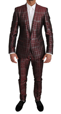 Dolce & Gabbana - Bordeaux GOLD Shiny 2 Piece Slim Suit