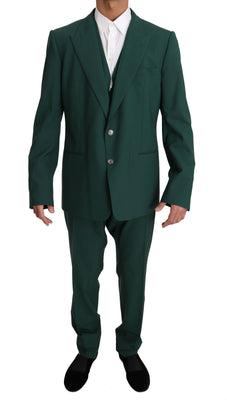 Dolce & Gabbana - Green Wool 3 Piece Stretch Suit