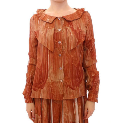 Licia Florio - Orange Long Sleeve Button Front Blouse Shirt | Londress