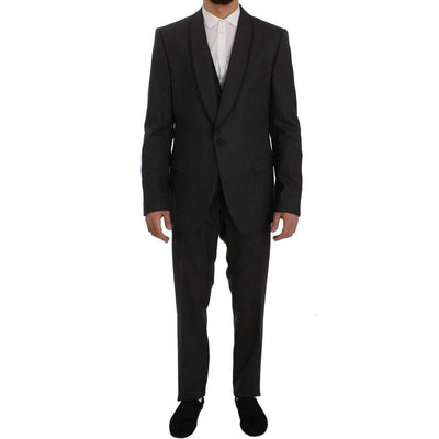 Dolce & Gabbana - Grey Striped Wool Slim Fit 3 Piece Suit | Londress