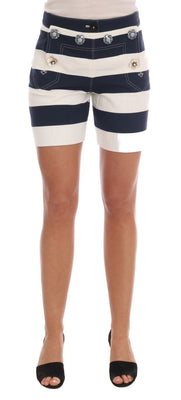Dolce & Gabbana - White Blue Striped Crystal Shorts, Londress