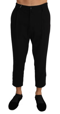 Dolce & Gabbana - Black Cotton Stretch Cropped Trousers Pants, Londress