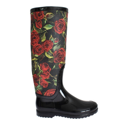 Dolce & Gabbana - Black Rose Print Wellies, Londress