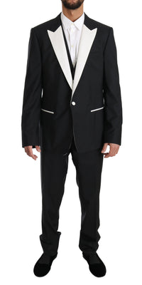Dolce & Gabbana - Black Wool MARTINI 3 Piece Slim Suit