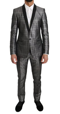 Dolce & Gabbana - Silver Gray Shiny GOLD 2 Piece Slim Suit