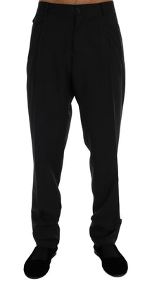Dolce & Gabbana - Black Striped Wool Stretch Pants, Londress