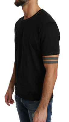 Black Cotton Crewneck Underwear T-shirt