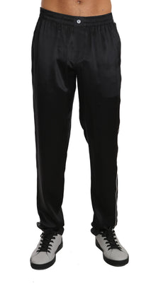 Dolce & Gabbana - Pajama Pants Lounge Solid Black Silk Sleepwear, Londress