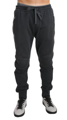 Dolce & Gabbana - Gray Cotton Gym Sport Casual Trousers, Londress