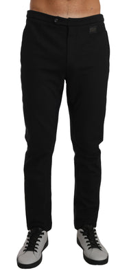 Dolce & Gabbana - Black Cotton Logo Dress Formal Trousers, Londress