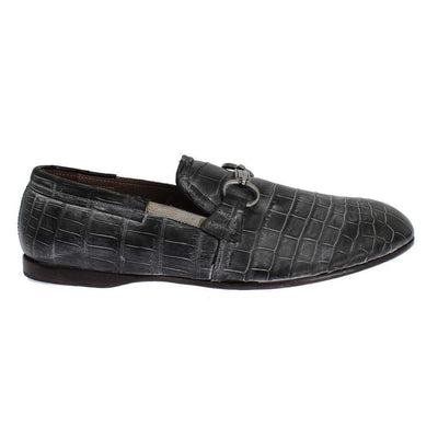 Dolce & Gabbana - Grey Crocodile Leather Loafers, Londress